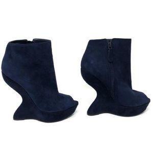 Alexander McQueen Navy Blue Suede Heel Wedge Boot